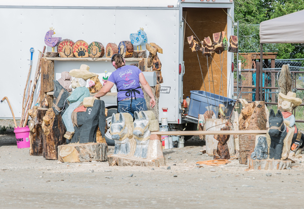 Vendors Chick with a Chainsaw, Ralston WY Mule Days